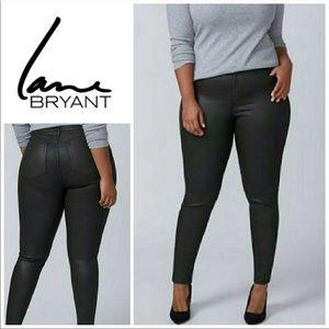 Lane Bryant NWOT Black Wax Coated Skinny Jeans